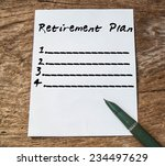 text retirement plan on paper... | Shutterstock . vector #234497629