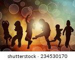 dancing children silhouettes   Shutterstock .eps vector #234530170