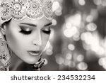Ethnic Beauty Fashion. Closeup...