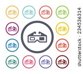 3d Cinema Flat Icons Set. Open...
