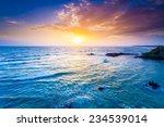 Indian Ocean On Sunset. Sri...