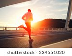 attractive fit man running fast ... | Shutterstock . vector #234551020