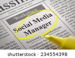 Stock photo social media manager jobs in newspaper job seeking concept 234554398