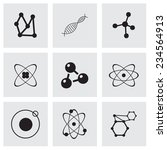 vector atom icon set on grey...   Shutterstock .eps vector #234564913
