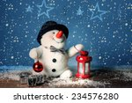 Smiling Snowman  With Lantern...