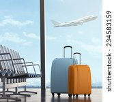 suitcases in airport  | Shutterstock . vector #234583159