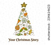 vector christmas doodles card... | Shutterstock .eps vector #234614623