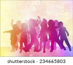dancing children silhouettes... | Shutterstock .eps vector #234665803