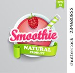 raspberry smoothie sticer with... | Shutterstock .eps vector #234680833