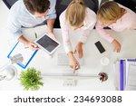 overhead view of businesspeople ... | Shutterstock . vector #234693088