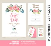 Vector set of invitation cards with watercolor flowers elements and calligraphic letters. Wedding  collection | Shutterstock vector #234712798