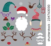 christmas hats  beards ... | Shutterstock .eps vector #234763030