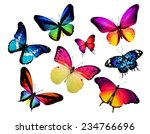 Stock photo many different butterflies isolated on white background 234766696