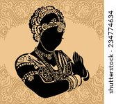 indian woman. silhouette of... | Shutterstock .eps vector #234774634