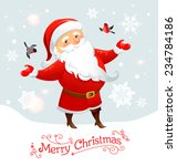 santa claus with bullfinches.... | Shutterstock .eps vector #234784186