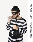 happy burglar on stand with his ... | Shutterstock . vector #234812746