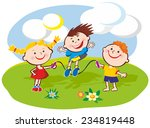 three kids playing jumping rope ... | Shutterstock .eps vector #234819448