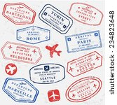 travel stamps background.... | Shutterstock .eps vector #234823648