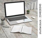 laptop on wooden floor  mock up  | Shutterstock . vector #234828340