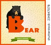 b letter with black bear behind ... | Shutterstock .eps vector #234847078