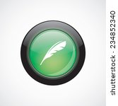 feather sign icon green shiny...