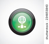 internet glass sign icon green...