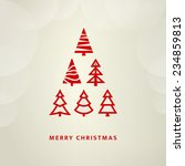 red christmas tree for greetings | Shutterstock .eps vector #234859813