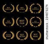film awards  gold award wreaths ... | Shutterstock .eps vector #234873274