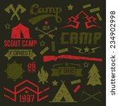 scout camp badges in retro...
