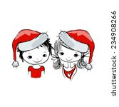 santa girl and boy  sketch for... | Shutterstock .eps vector #234908266