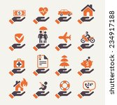 insurance hand icons set.... | Shutterstock .eps vector #234917188