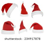 collage of santa hats isolated... | Shutterstock . vector #234917878