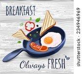 breakfast poster fried eggs and ...   Shutterstock .eps vector #234946969
