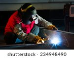 welder welding a large piece in ... | Shutterstock . vector #234948490
