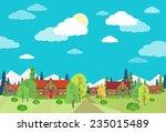 village summer landscape houses ... | Shutterstock .eps vector #235015489