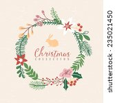 christmas greeting wreath with... | Shutterstock .eps vector #235021450