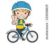 Child Riding Bike  Vector...