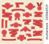 red  ribbons medal award  set... | Shutterstock .eps vector #235063519