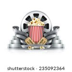 popcorn film strips and disks... | Shutterstock .eps vector #235092364
