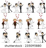 set of wedding doodle pictures  ... | Shutterstock .eps vector #235095880