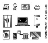 black and white home appliances ... | Shutterstock . vector #235101838
