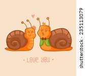 Cute Snails In Love   Card For...