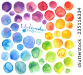 Bright rainbow colors watercolor painted vector stains | Shutterstock vector #235116334