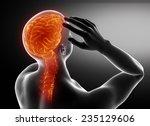man migraine headache concept...   Shutterstock . vector #235129606
