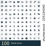 100 bank icons set  black ... | Shutterstock . vector #235134340