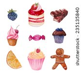 watercolor sweets set. vector... | Shutterstock .eps vector #235135840
