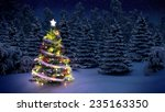 shiny christmas tree before... | Shutterstock . vector #235163350