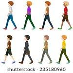 eight gentlemen walking without ... | Shutterstock .eps vector #235180960
