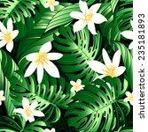 tropical lush flowers seamless... | Shutterstock . vector #235181893