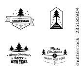 set of xmas vintage badges and... | Shutterstock .eps vector #235182604